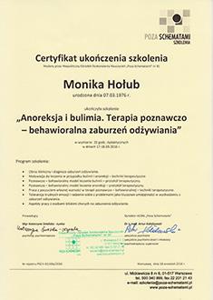 Zaświadczenie o ukończeniu szkolenia Anoreksja i bulimia. Terapia poznawczo-behawioralna zaburzeń odżywiania