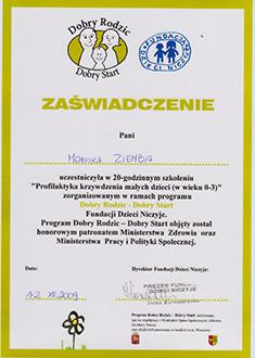Zaświadczenie o ukończeniu szkolenia Profilaktyka krzywdzenia małych dzieci
