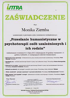 Dyplom ukończenia warsztatów Przesłanie humanistyczne w psychoterapii osób uzależnionych i ich rodzin