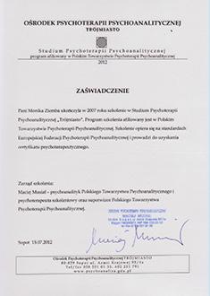 Zaświadczenie o ukończeniu szkolenia w Studium Psychoterapii Psychoanalitycznej