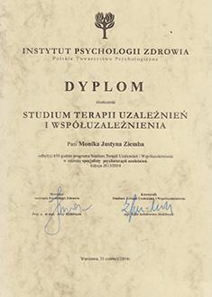 Dyplom ukończenia Studium terapii uzależnień i współuzależnienia