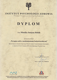 Dyplom ukończenia szkolenia Terapia osób z uzależnieniami behawioralnymi